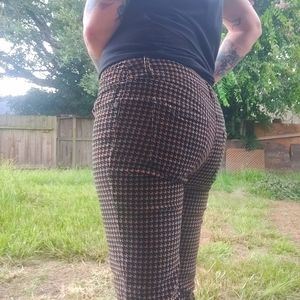 Houndstooth Corduroy Skinny Jeans